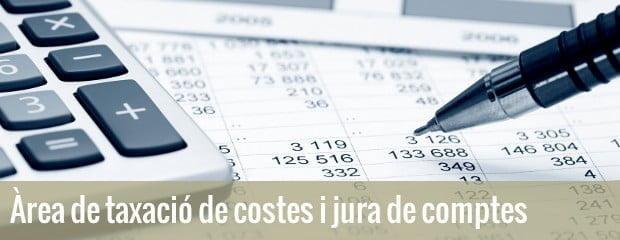Àrea de taxació de costes i jura de comptes